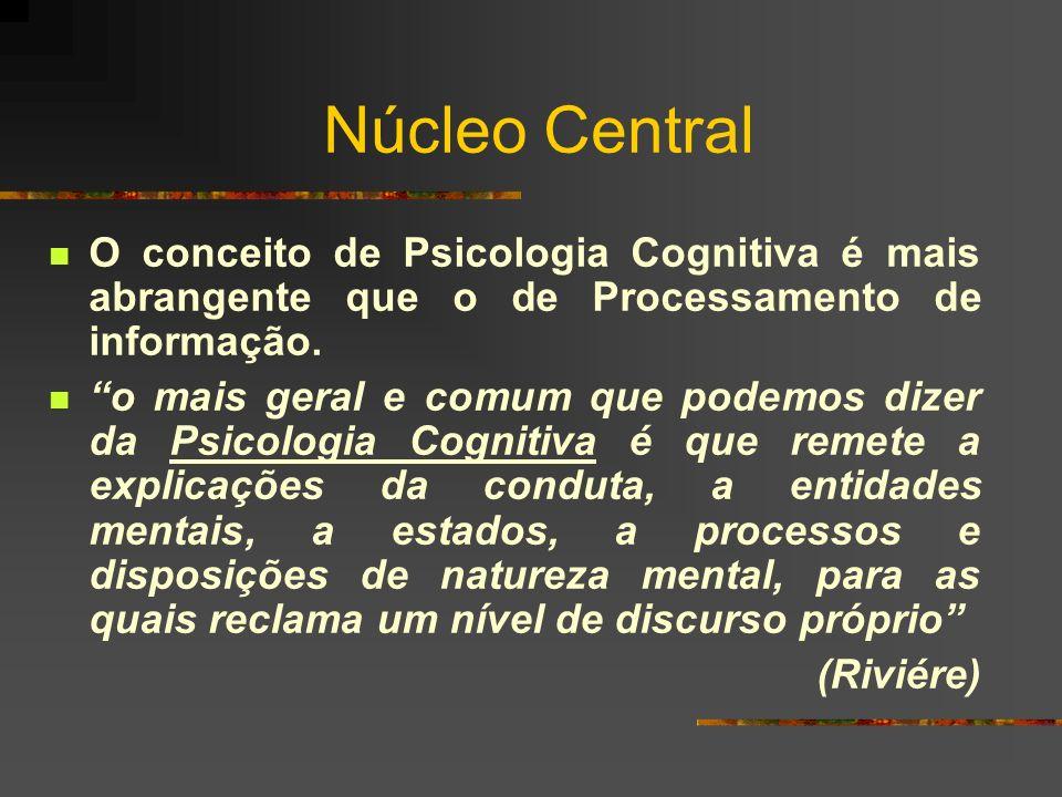 Núcleo Central O conceito de Psicologia Cognitiva é mais abrangente que o de Processamento de informação. o mais geral e comum que podemos dizer da Ps
