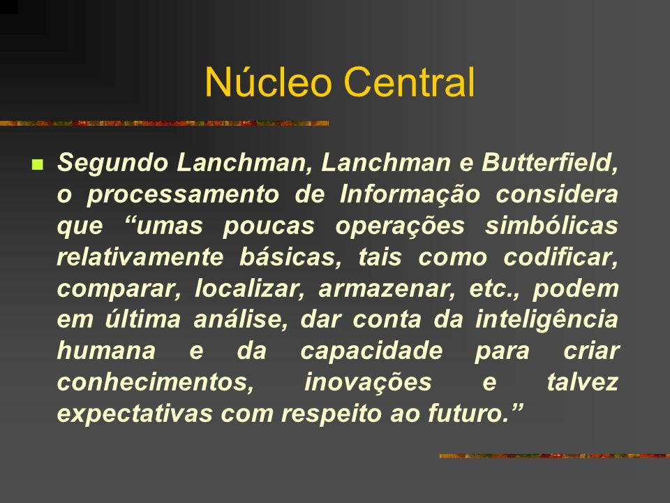 Núcleo Central Segundo Lanchman, Lanchman e Butterfield, o processamento de Informação considera que umas poucas operações simbólicas relativamente bá