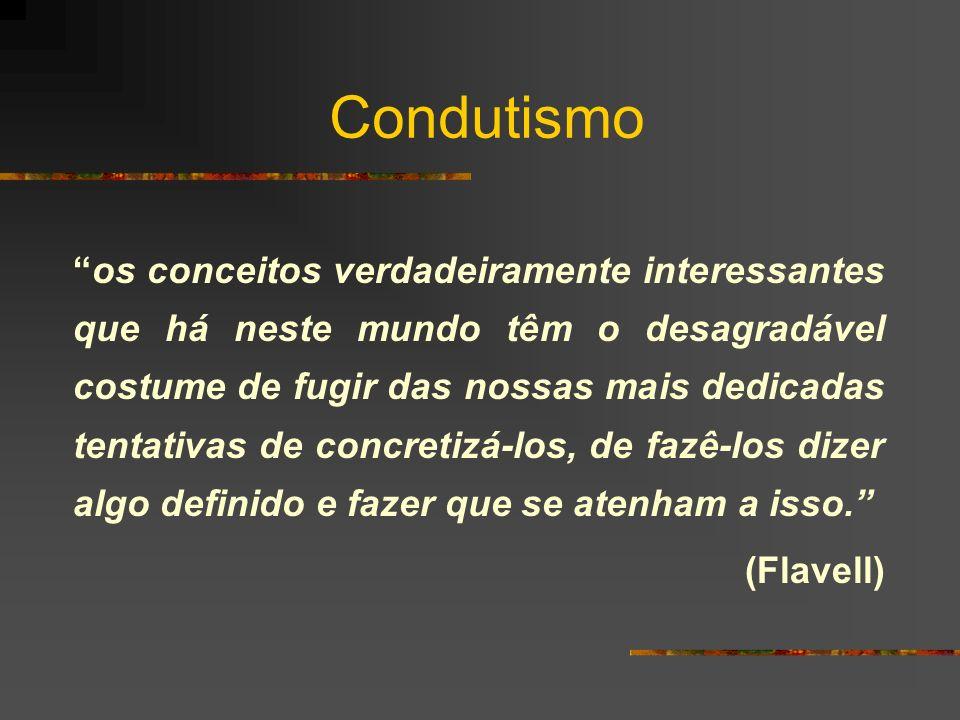 Condutismo os conceitos verdadeiramente interessantes que há neste mundo têm o desagradável costume de fugir das nossas mais dedicadas tentativas de c