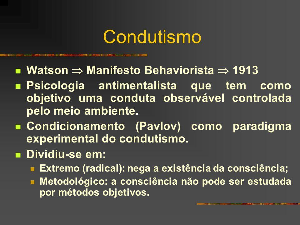 Condutismo Watson Manifesto Behaviorista 1913 Psicologia antimentalista que tem como objetivo uma conduta observável controlada pelo meio ambiente. Co