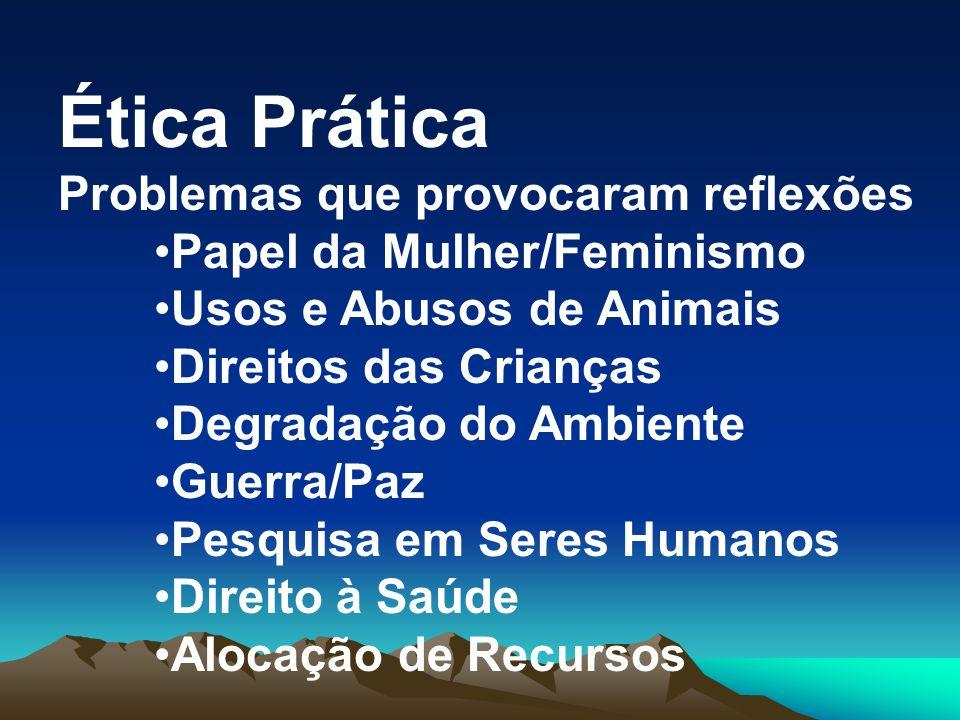 Ética Prática Problemas que provocaram reflexões Papel da Mulher/Feminismo Usos e Abusos de Animais Direitos das Crianças Degradação do Ambiente Guerr