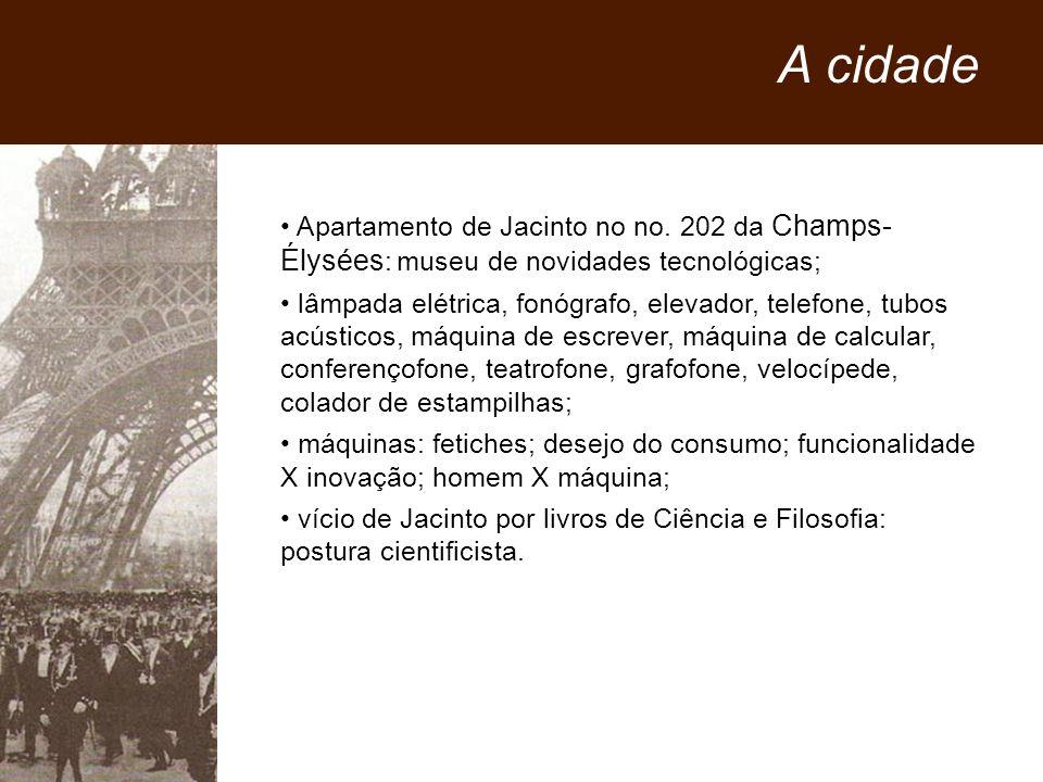 Apartamento de Jacinto no no. 202 da Champs- Élysées : museu de novidades tecnológicas; lâmpada elétrica, fonógrafo, elevador, telefone, tubos acústic