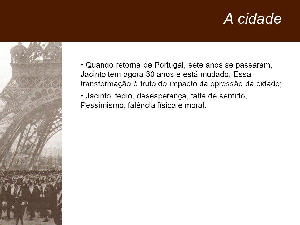 Quando retorna de Portugal, sete anos se passaram, Jacinto tem agora 30 anos e está mudado. Essa transformação é fruto do impacto da opressão da cidad