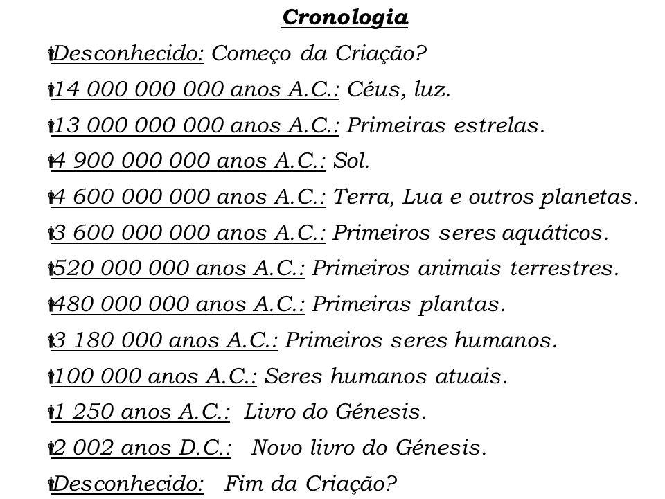 Cronologia Desconhecido: Começo da Criação? 14 000 000 000 anos A.C.: Céus, luz. 13 000 000 000 anos A.C.: Primeiras estrelas. 4 900 000 000 anos A.C.