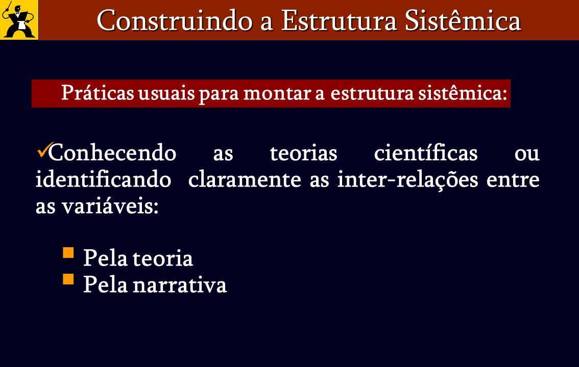 Conhecendo as teorias científicas ou identificando claramente as inter-relações entre as variáveis: Pela teoria Pela narrativa Construindo a Estrutura