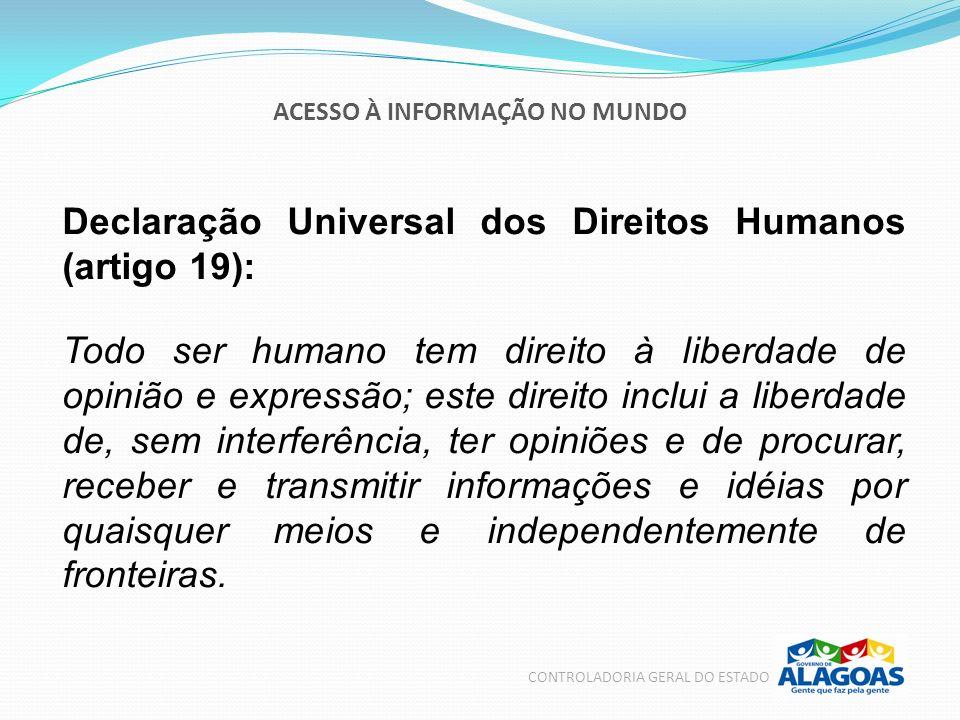 ACESSO À INFORMAÇÃO NO MUNDO CONTROLADORIA GERAL DO ESTADO Declaração Universal dos Direitos Humanos (artigo 19): Todo ser humano tem direito à liberd
