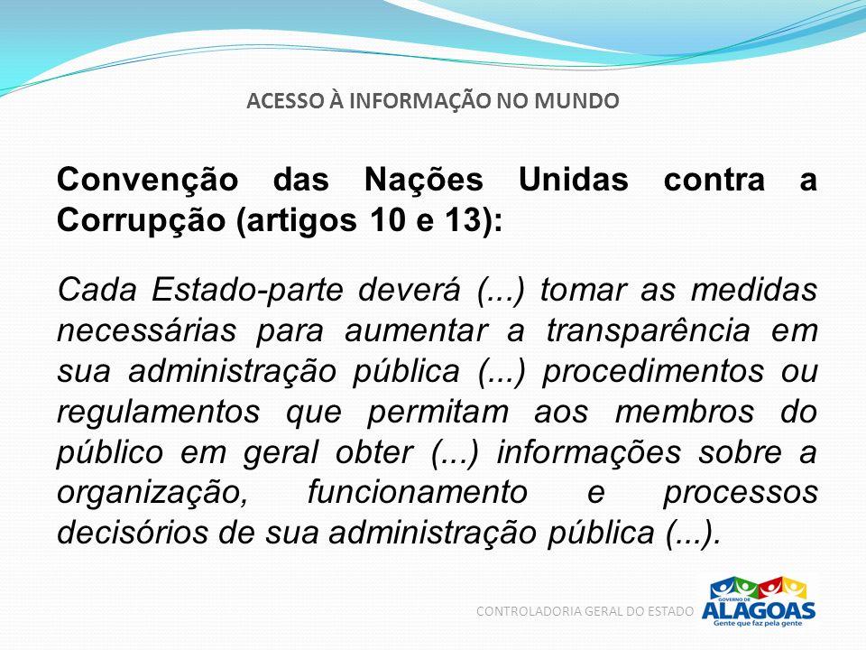 ACESSO À INFORMAÇÃO NO MUNDO CONTROLADORIA GERAL DO ESTADO Convenção das Nações Unidas contra a Corrupção (artigos 10 e 13): Cada Estado-parte deverá