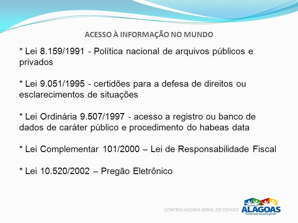 ACESSO À INFORMAÇÃO NO MUNDO CONTROLADORIA GERAL DO ESTADO * Lei 8.159/1991 - Política nacional de arquivos públicos e privados * Lei 9.051/1995 - cer