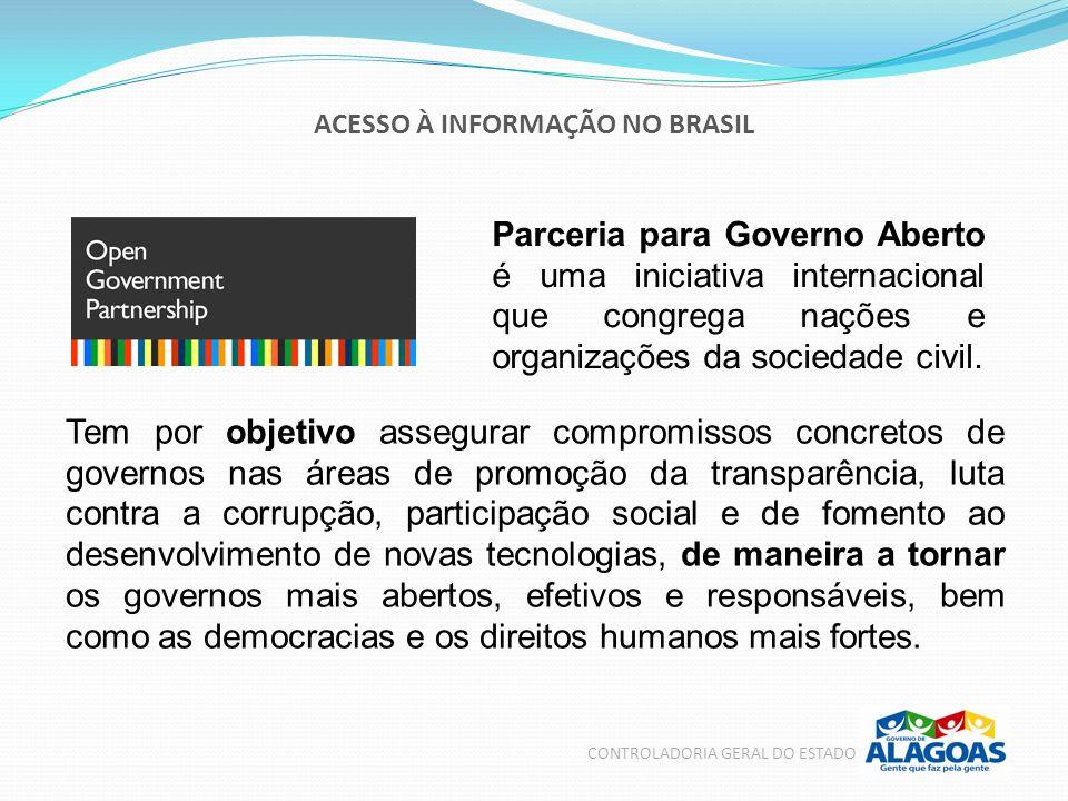 ACESSO À INFORMAÇÃO NO BRASIL CONTROLADORIA GERAL DO ESTADO Parceria para Governo Aberto é uma iniciativa internacional que congrega nações e organiza