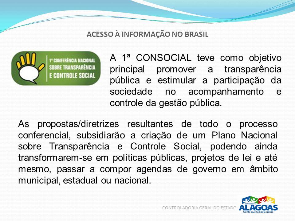 ACESSO À INFORMAÇÃO NO BRASIL CONTROLADORIA GERAL DO ESTADO A 1ª CONSOCIAL teve como objetivo principal promover a transparência pública e estimular a