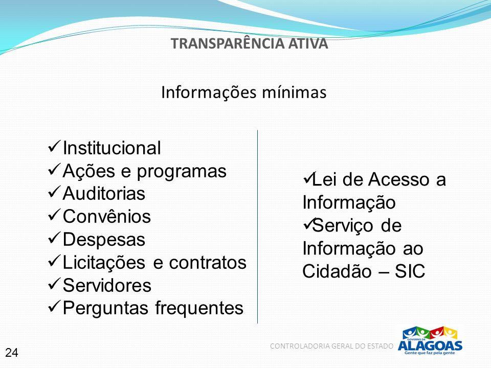 Informações mínimas Institucional Ações e programas Auditorias Convênios Despesas Licitações e contratos Servidores Perguntas frequentes Lei de Acesso