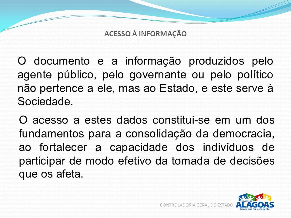 ACESSO À INFORMAÇÃO O documento e a informação produzidos pelo agente público, pelo governante ou pelo político não pertence a ele, mas ao Estado, e e