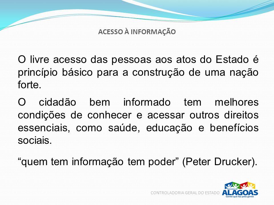 CONTROLADORIA GERAL DO ESTADO No Brasil, o direito de acesso à informação pública está previsto na Constituição Federal desde 1988.