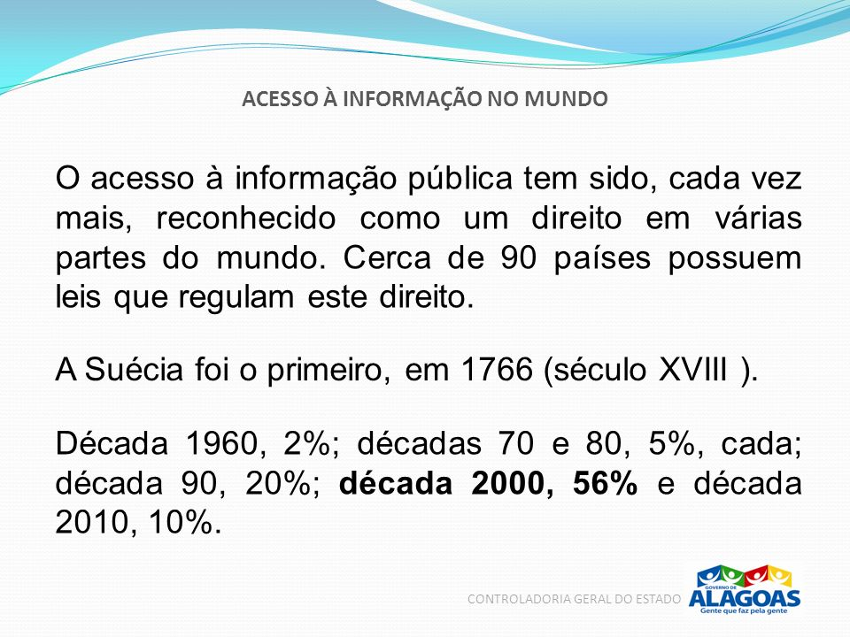 ACESSO À INFORMAÇÃO NO BRASIL CONTROLADORIA GERAL DO ESTADO Parceria para Governo Aberto é uma iniciativa internacional que congrega nações e organizações da sociedade civil.