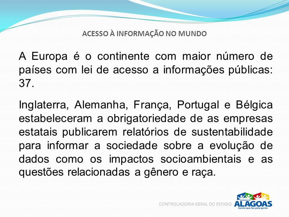 ACESSO À INFORMAÇÃO NO MUNDO CONTROLADORIA GERAL DO ESTADO A Europa é o continente com maior número de países com lei de acesso a informações públicas