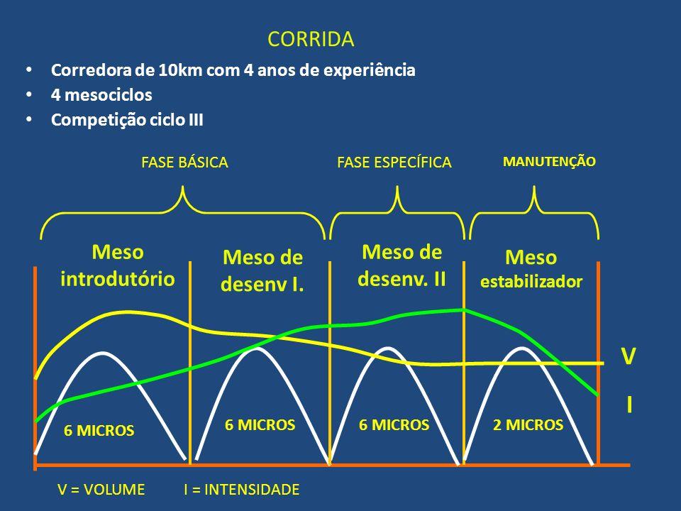 CORRIDA Corredora de 10km com 4 anos de experiência 4 mesociclos Competição ciclo III Meso introdutório Meso de desenv I. Meso de desenv. II I V Meso