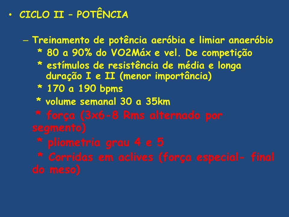 CICLO II – POTÊNCIA – Treinamento de potência aeróbia e limiar anaeróbio * 80 a 90% do VO2Máx e vel. De competição * estímulos de resistência de média