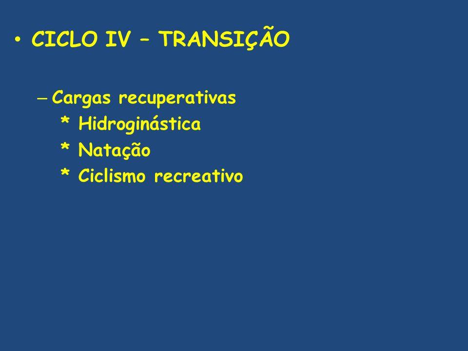 CICLO IV – TRANSIÇÃO – Cargas recuperativas * Hidroginástica * Natação * Ciclismo recreativo