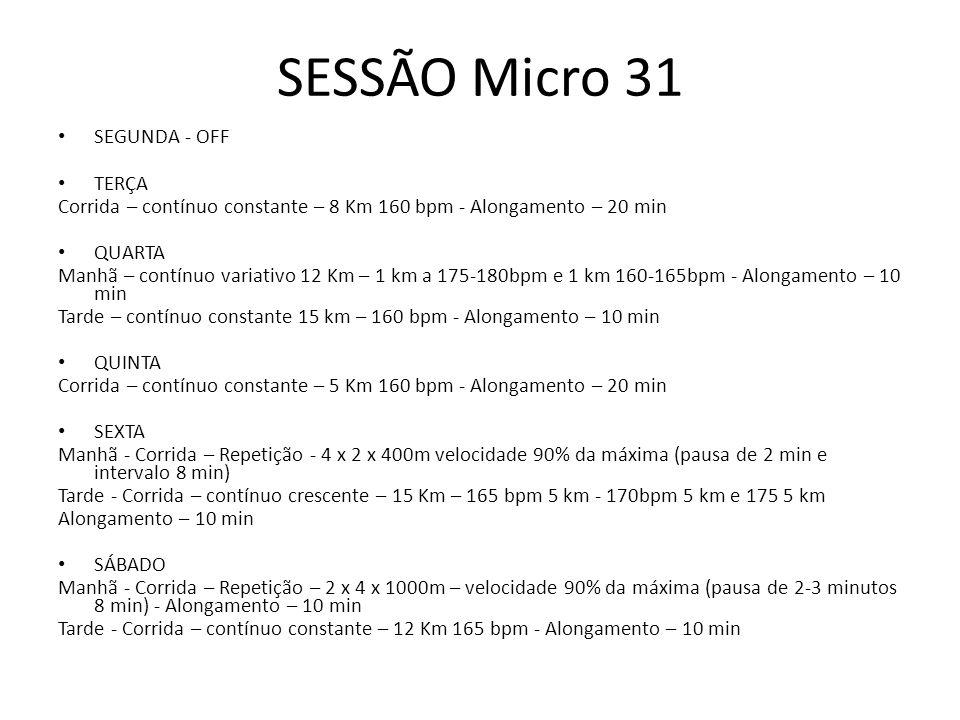 SESSÃO Micro 31 SEGUNDA - OFF TERÇA Corrida – contínuo constante – 8 Km 160 bpm - Alongamento – 20 min QUARTA Manhã – contínuo variativo 12 Km – 1 km