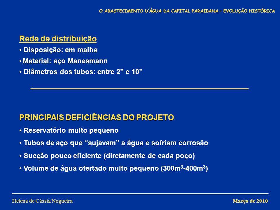 Helena de Cássia Nogueira PRINCIPAIS DEFICIÊNCIAS DO PROJETO Reservatório muito pequeno Tubos de aço que sujavam a água e sofriam corrosão Sucção pouc