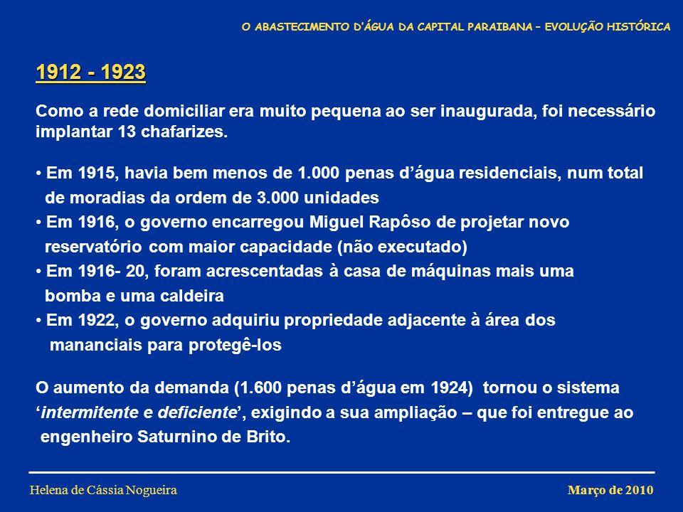 Helena de Cássia Nogueira 1912 - 1923 Como a rede domiciliar era muito pequena ao ser inaugurada, foi necessário implantar 13 chafarizes. Em 1915, hav
