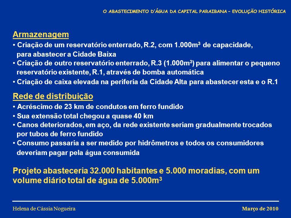 Helena de Cássia Nogueira Armazenagem Criação de um reservatório enterrado, R.2, com 1.000m 3 de capacidade, para abastecer a Cidade Baixa Criação de