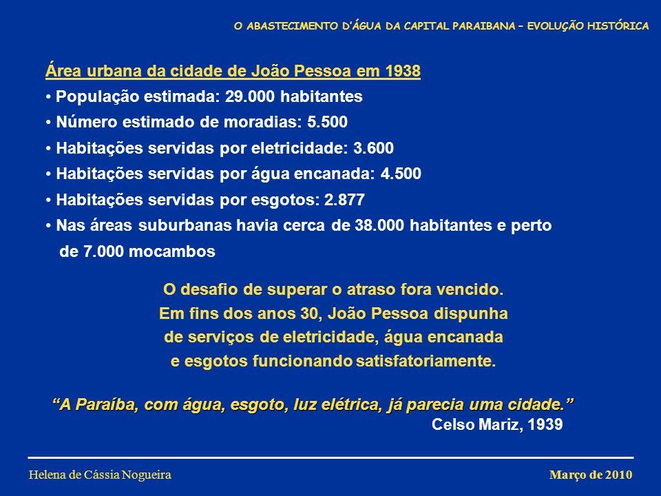 Helena de Cássia Nogueira Área urbana da cidade de João Pessoa em 1938 População estimada: 29.000 habitantes Número estimado de moradias: 5.500 Habita