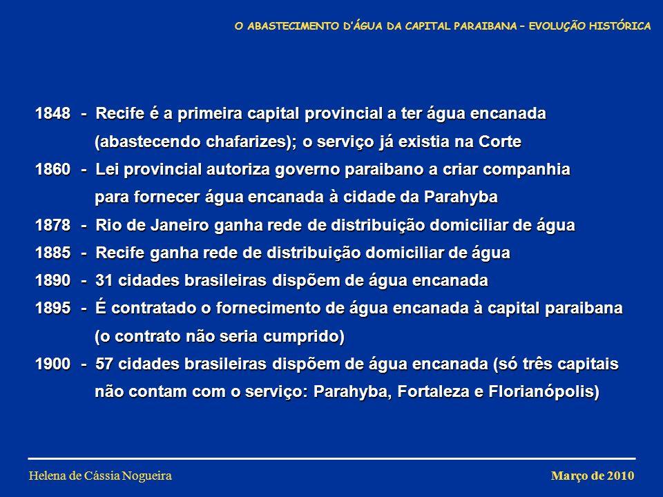 1848 - Recife é a primeira capital provincial a ter água encanada (abastecendo chafarizes); o serviço já existia na Corte 1860 - Lei provincial autori