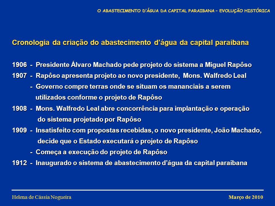 Cronologia da criação do abastecimento dágua da capital paraibana 1906 - Presidente Álvaro Machado pede projeto do sistema a Miguel Rapôso 1907 - Rapô