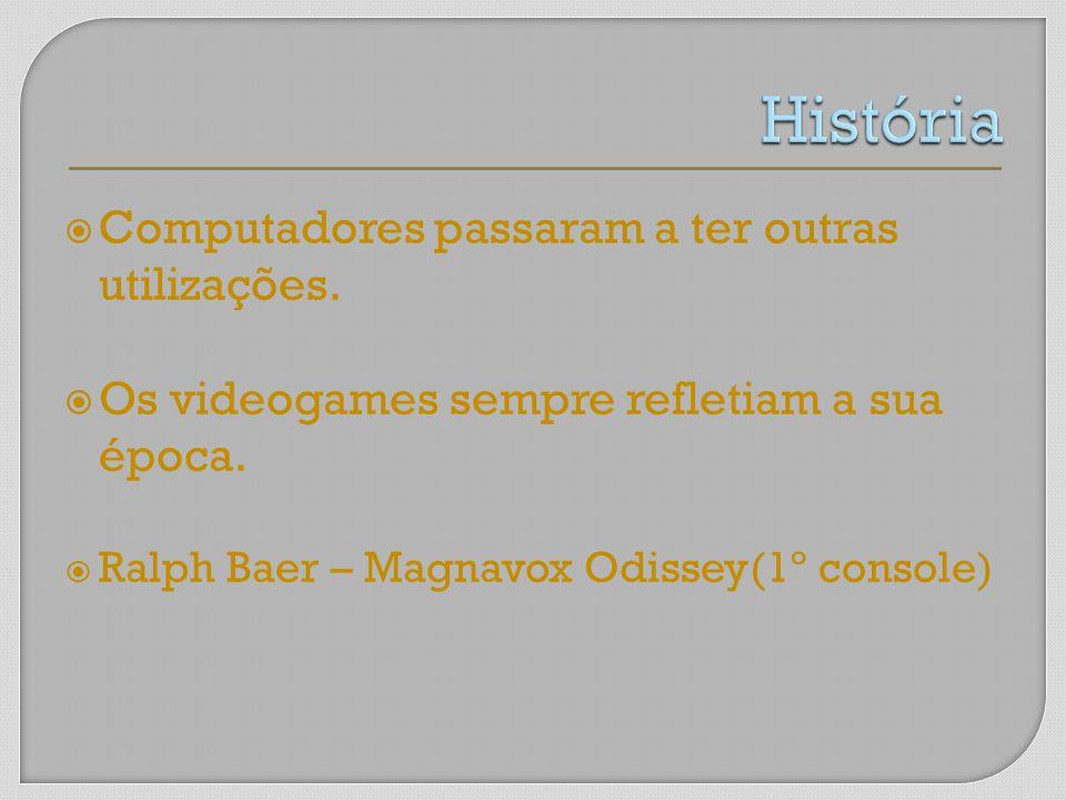 Computadores passaram a ter outras utilizações. Os videogames sempre refletiam a sua época. Ralph Baer – Magnavox Odissey(1º console)