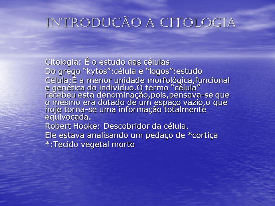Introdução a Citologia Citologia: É o estudo das células Do grego kytos:célula e logos:estudo Célula:É a menor unidade morfológica,funcional e genétic