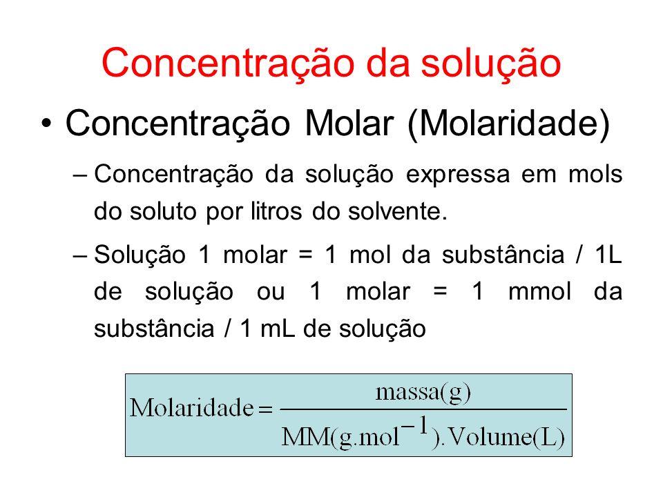 Concentração da solução Concentração Molar (Molaridade) –Concentração da solução expressa em mols do soluto por litros do solvente. –Solução 1 molar =