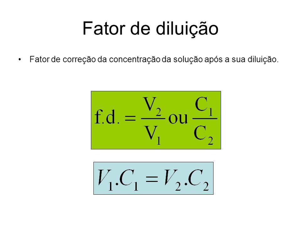 Fator de diluição Fator de correção da concentração da solução após a sua diluição.