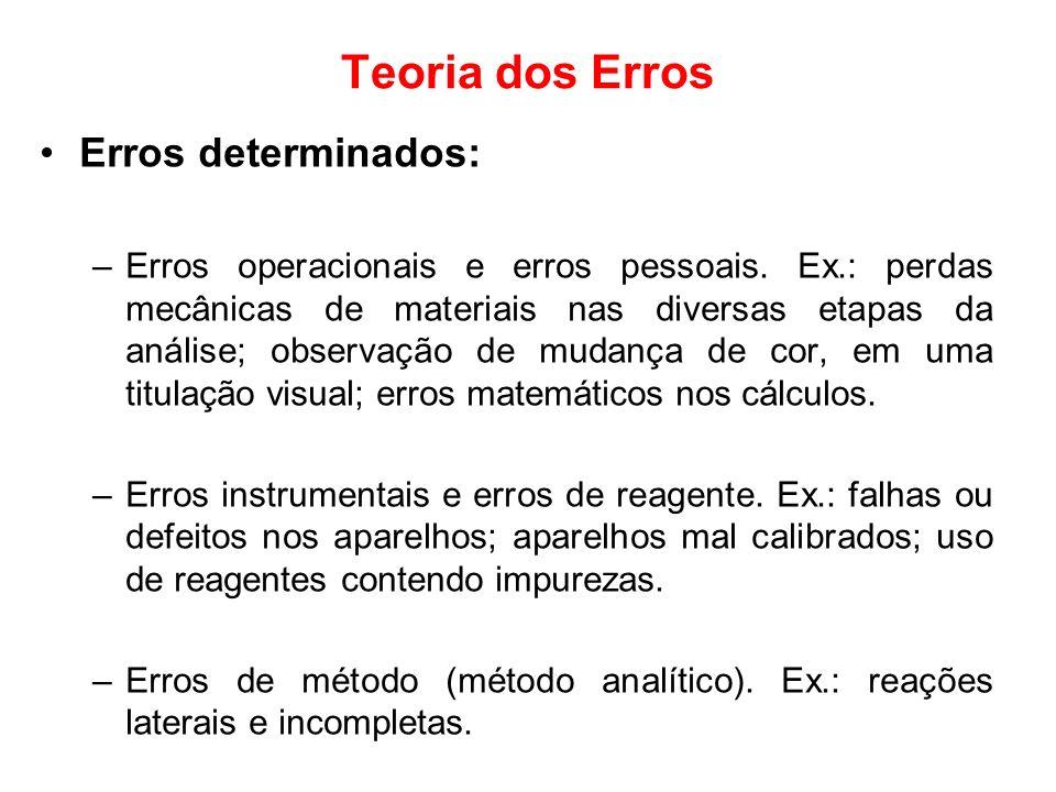 Teoria dos Erros Erros determinados: –Erros operacionais e erros pessoais. Ex.: perdas mecânicas de materiais nas diversas etapas da análise; observaç