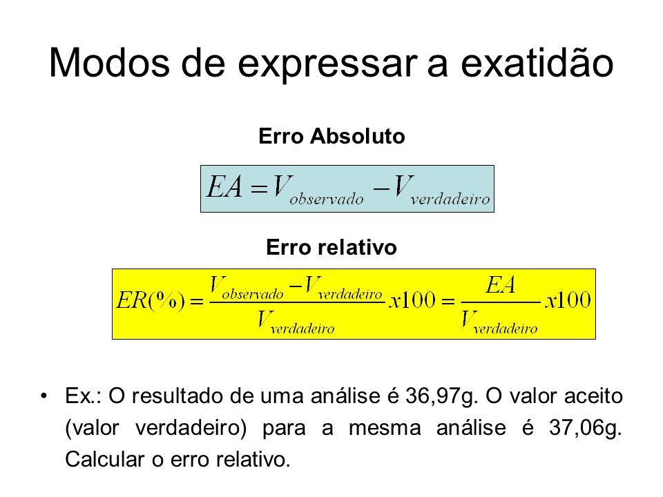 Modos de expressar a exatidão Erro Absoluto Erro relativo Ex.: O resultado de uma análise é 36,97g. O valor aceito (valor verdadeiro) para a mesma aná