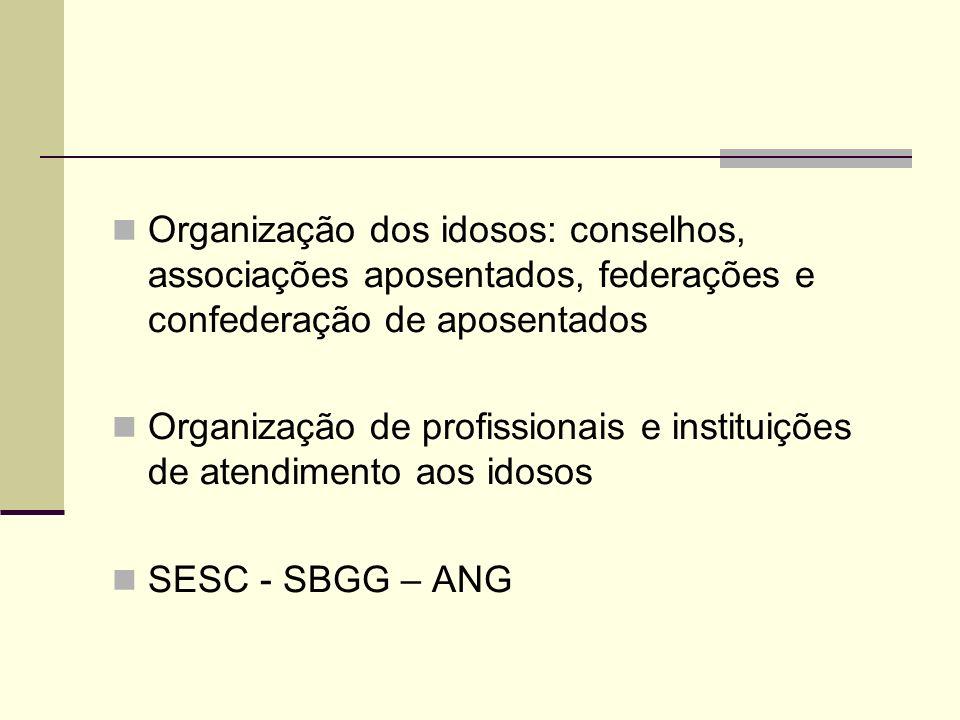 Organização dos idosos: conselhos, associações aposentados, federações e confederação de aposentados Organização de profissionais e instituições de at