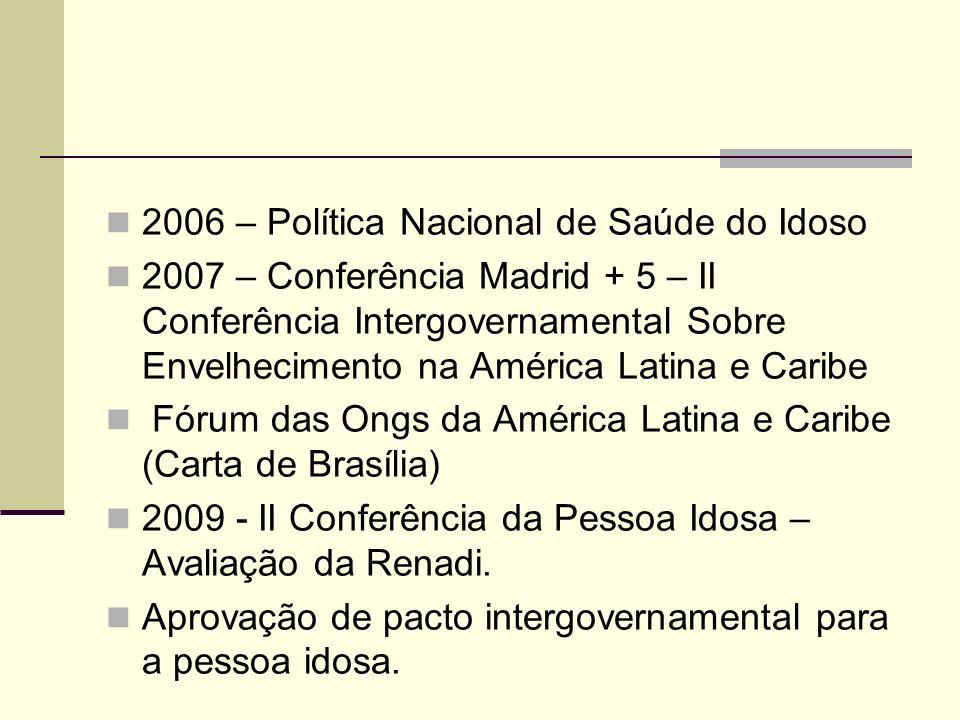 2006 – Política Nacional de Saúde do Idoso 2007 – Conferência Madrid + 5 – II Conferência Intergovernamental Sobre Envelhecimento na América Latina e