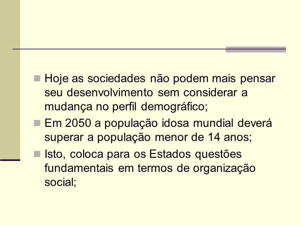 Hoje as sociedades não podem mais pensar seu desenvolvimento sem considerar a mudança no perfil demográfico; Em 2050 a população idosa mundial deverá
