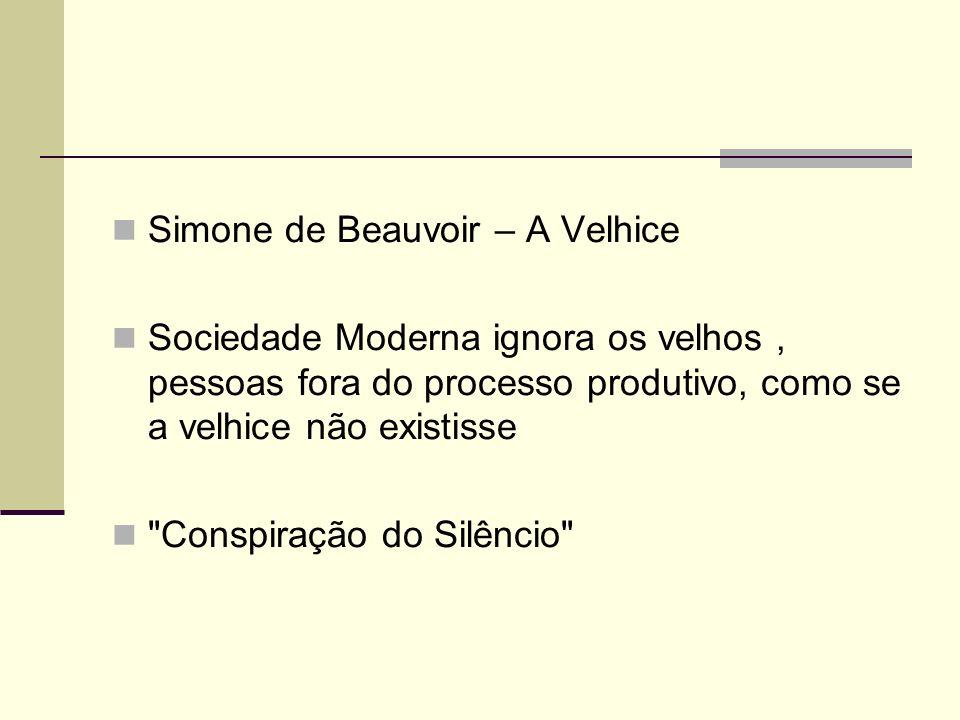 Simone de Beauvoir – A Velhice Sociedade Moderna ignora os velhos, pessoas fora do processo produtivo, como se a velhice não existisse