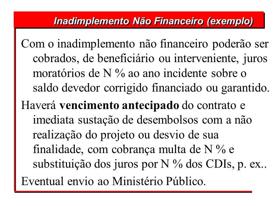 Com o inadimplemento não financeiro poderão ser cobrados, de beneficiário ou interveniente, juros moratórios de N % ao ano incidente sobre o saldo dev