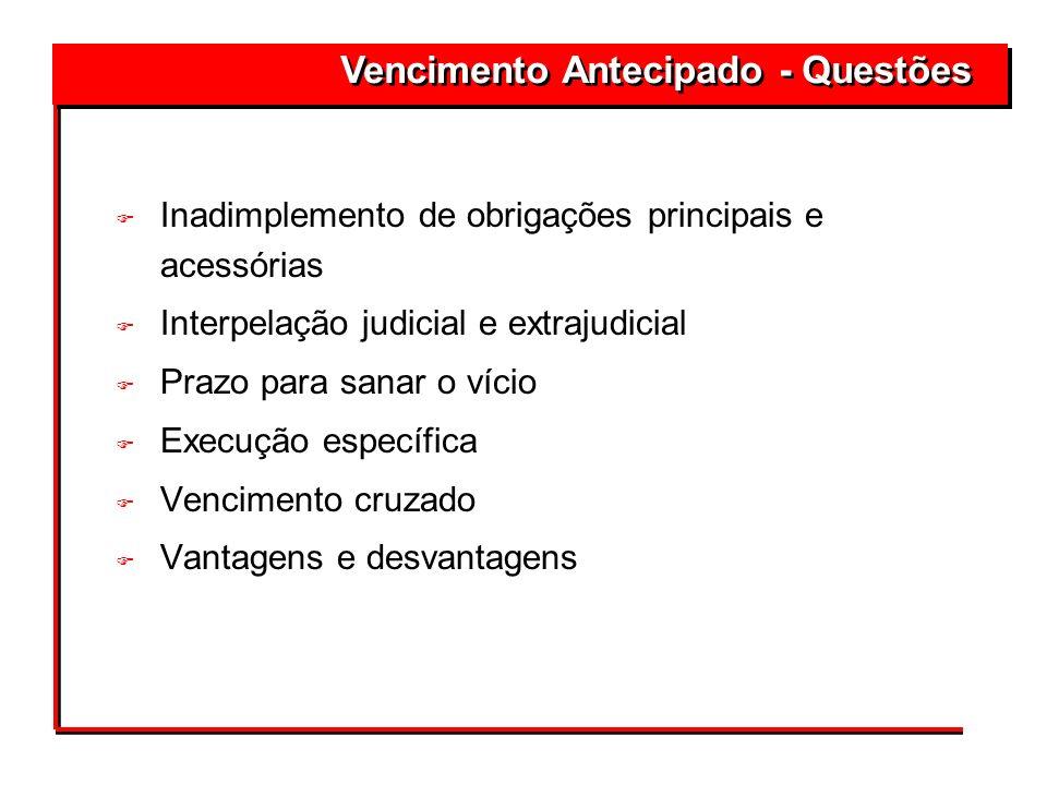 F Inadimplemento de obrigações principais e acessórias F Interpelação judicial e extrajudicial F Prazo para sanar o vício F Execução específica F Venc