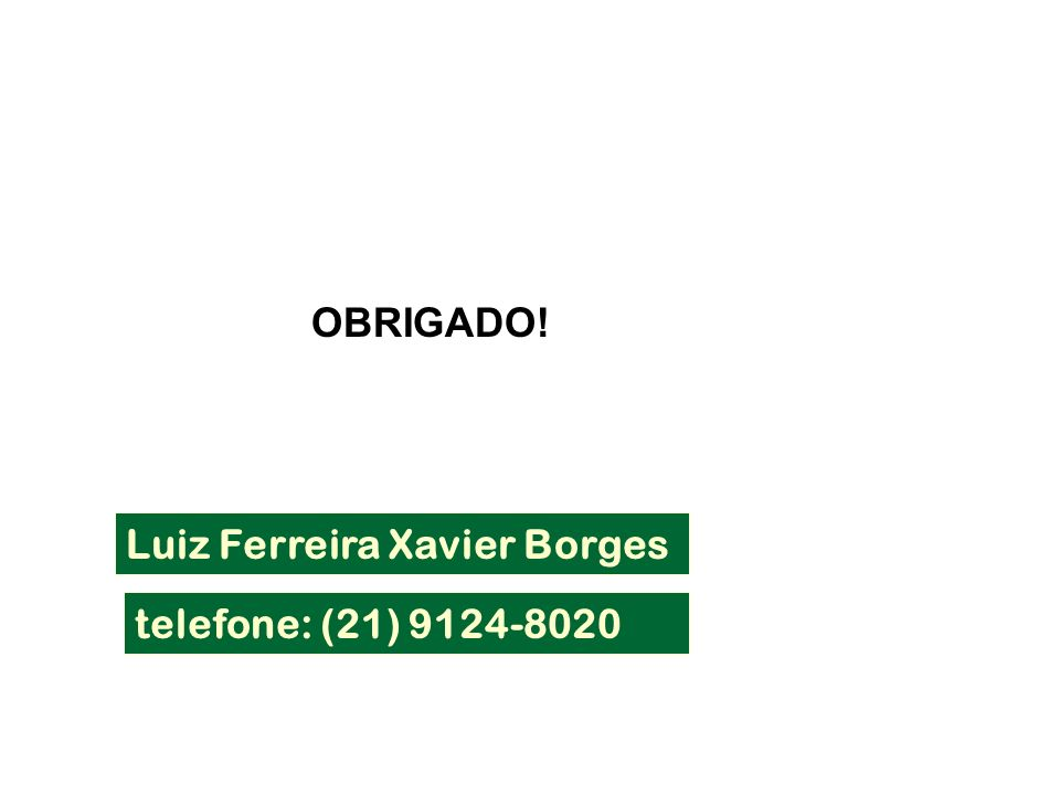 telefone: (21) 9124-8020 Luiz Ferreira Xavier Borges OBRIGADO!