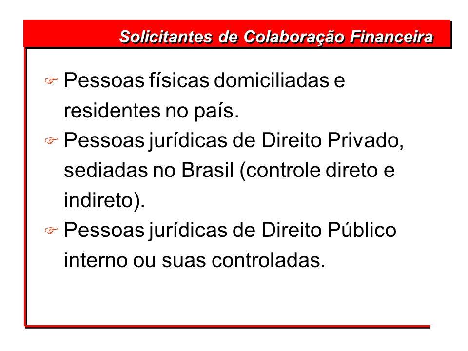 Solicitantes de Colaboração Financeira F Pessoas físicas domiciliadas e residentes no país. F Pessoas jurídicas de Direito Privado, sediadas no Brasil