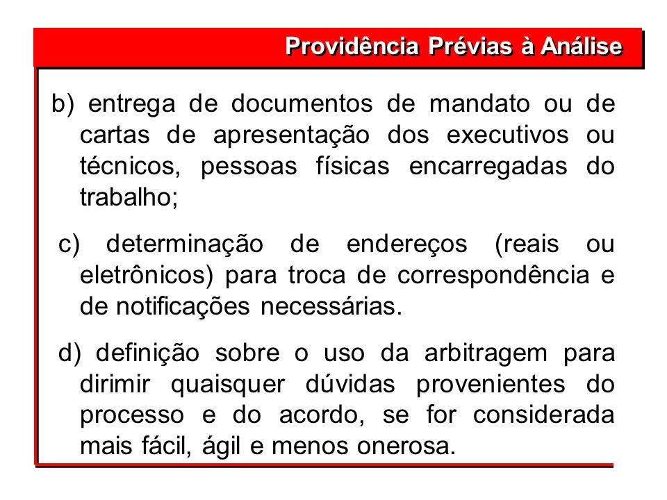 Providência Prévias à Análise b) entrega de documentos de mandato ou de cartas de apresentação dos executivos ou técnicos, pessoas físicas encarregada