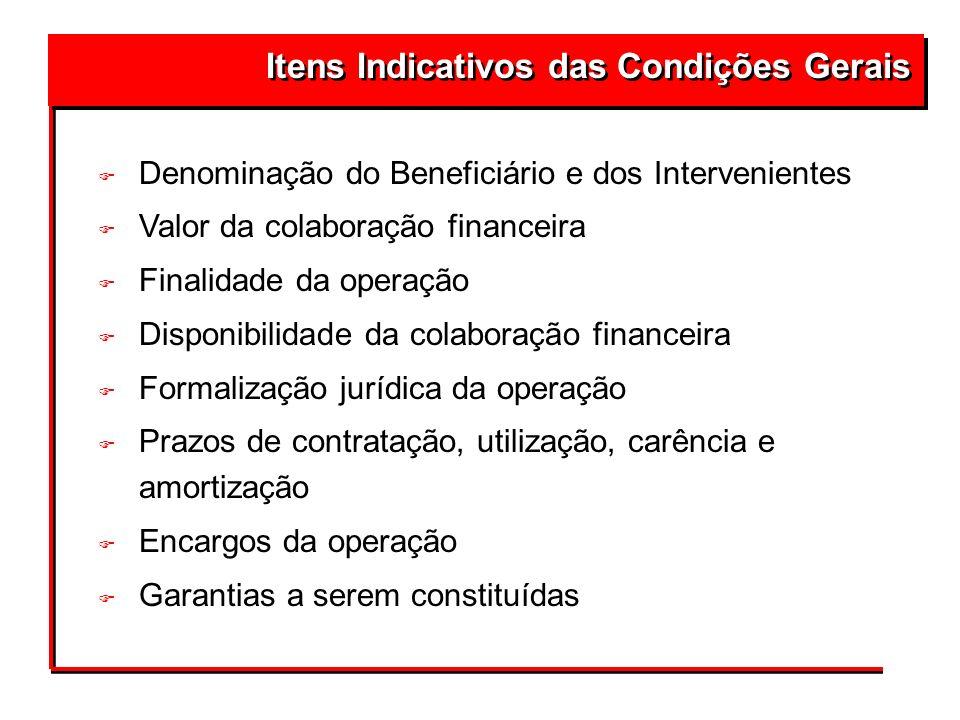 Itens Indicativos das Condições Gerais F Denominação do Beneficiário e dos Intervenientes F Valor da colaboração financeira F Finalidade da operação F