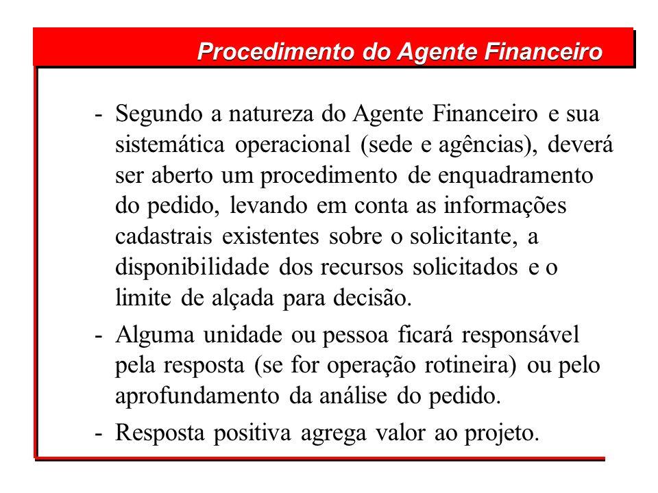 Procedimento do Agente Financeiro -Segundo a natureza do Agente Financeiro e sua sistemática operacional (sede e agências), deverá ser aberto um proce