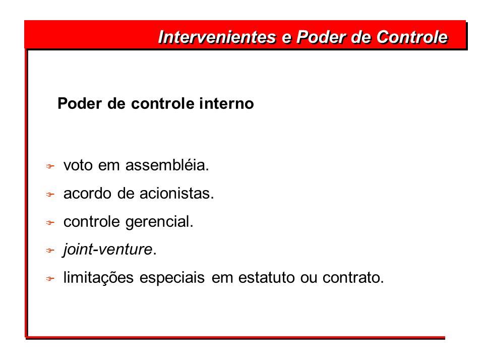 Poder de controle interno F voto em assembléia. F acordo de acionistas. F controle gerencial. F joint-venture. F limitações especiais em estatuto ou c