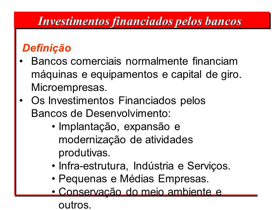 Definição Bancos comerciais normalmente financiam máquinas e equipamentos e capital de giro. Microempresas. Os Investimentos Financiados pelos Bancos