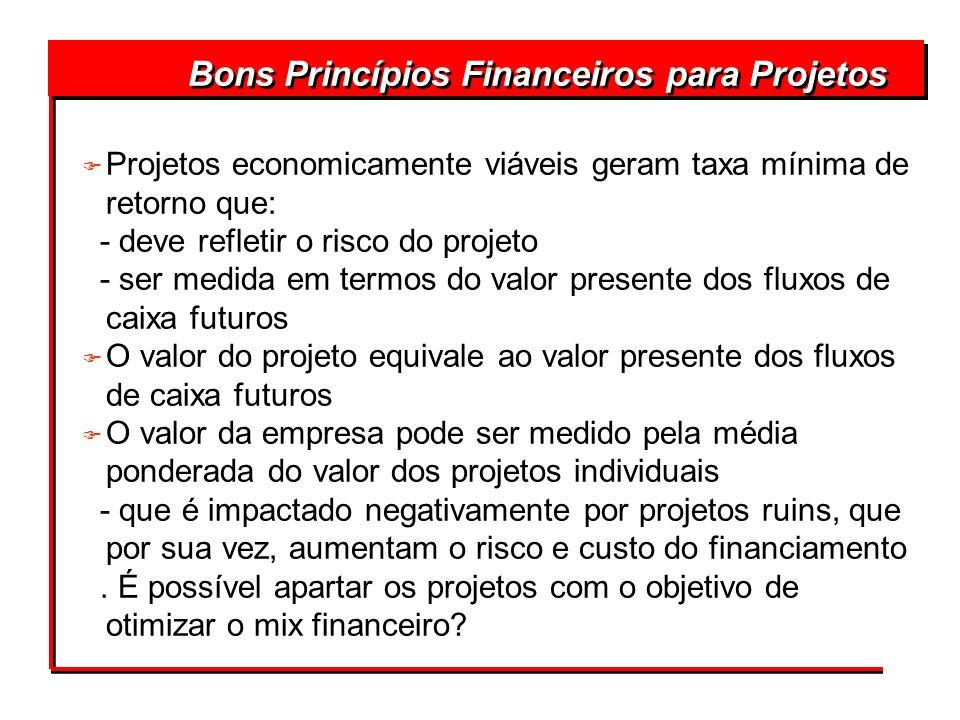 Bons Princípios Financeiros para Projetos F Projetos economicamente viáveis geram taxa mínima de retorno que: - deve refletir o risco do projeto - ser