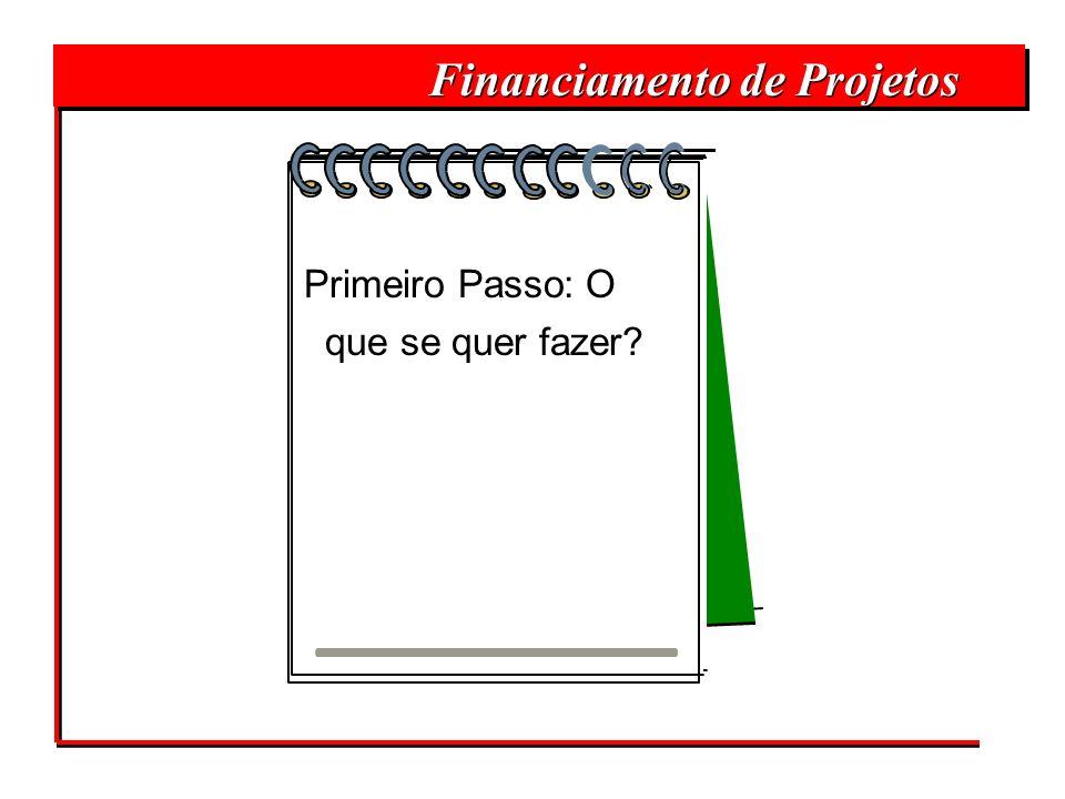 Financiamento de Projetos Primeiro Passo: O que se quer fazer?